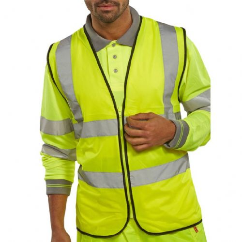 BSeen Yellow Zipped Hi Vis Vest